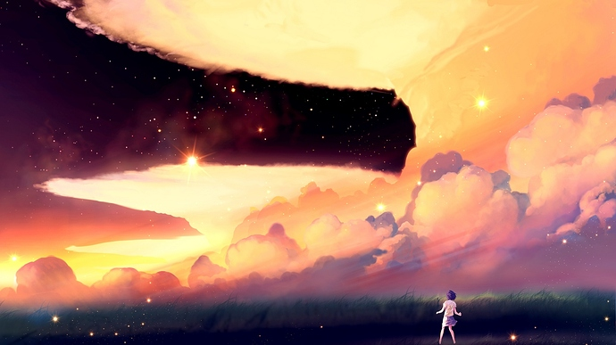 akio_bako_anime_sunset_girl_clouds_103086_1366x768