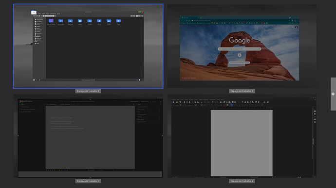 Linux Mint 20.1  com Cinnamon - Espaços de Trabalho
