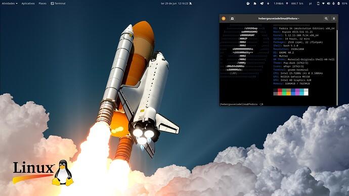 Fedora 34 com GNOME 40 terminal neofetch
