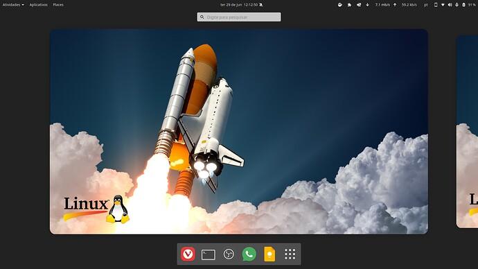 Fedora 34 com GNOME 40 dash de apps