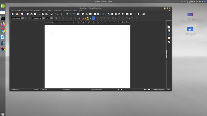 Linux Mint 20.1  com Cinnamon - LibreOffice