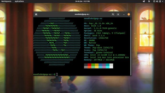 Pop!_OS 21.04 com COSMIC e neofetch no terminal