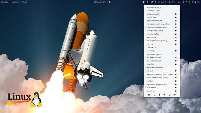 Fedora 34 com GNOME 40 extensões