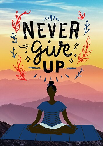 never give up positive