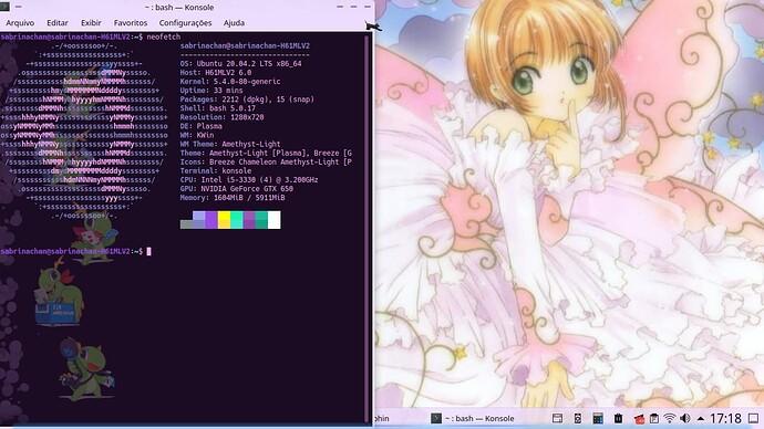 Ubuntu com KDE Plasma e terminal