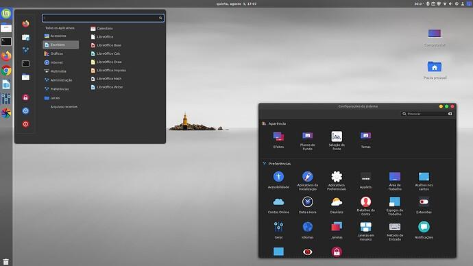 Linux Mint 20.1  com Cinnamon - Configurações