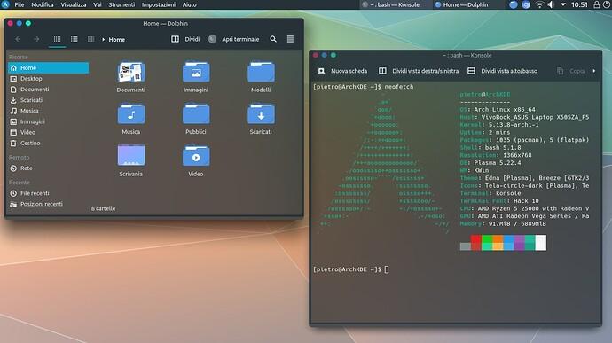 Arch Linux com KDE Plasma Konsole neofetch