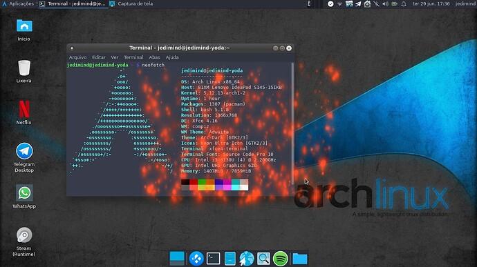 Arch Linux com XFCE e o terminal com neofetch