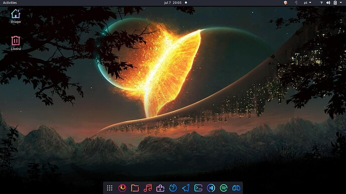 Ubuntu com GNOME area de trabalho