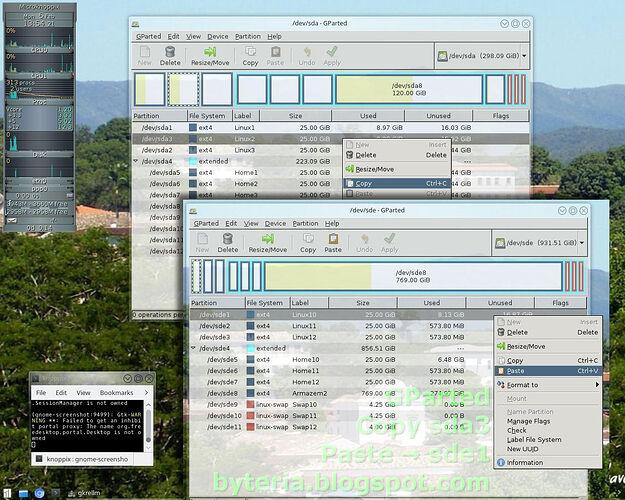 003-gParted-copy-paste-Debian-sda3-sde1