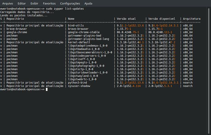 zypper list-updates