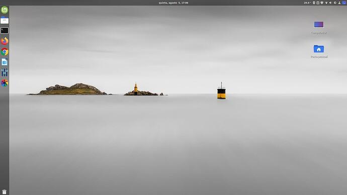 Linux Mint 20.1  com Cinnamon - Area de Trabalho