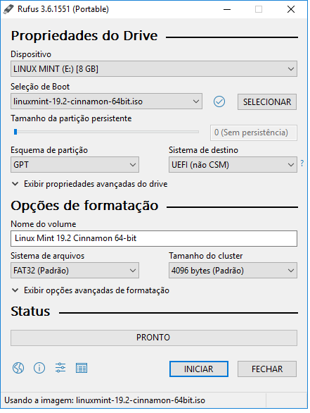 Configuracao_RUFUS_LinuxMint_19_2_Bootavel_UEFI