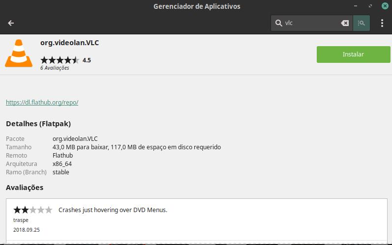 Pacote Flatpak do VLC não aparece na Gnome Software - Linux