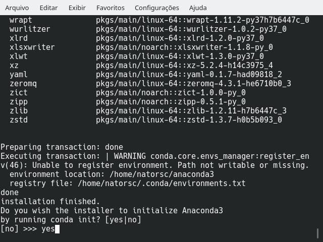 Definindo a inicialização do Anaconda