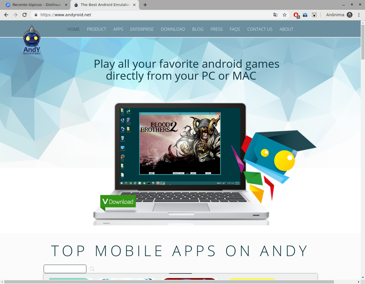 Andy Android Emulator Alpha - Linux - Diolinux Plus