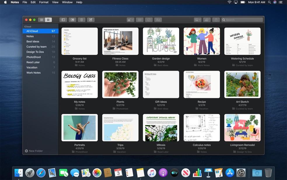Aplicativo de Notas ganhará novo design no macOS Catalina — Foto: Divulgação/Apple